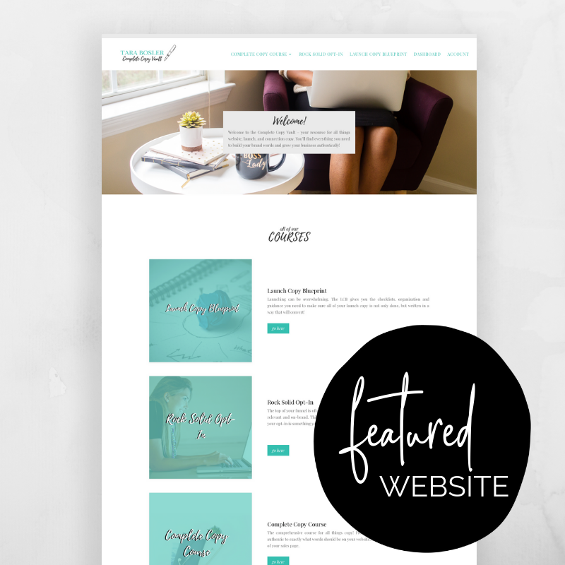 Tara Bosler's Copy Vault is a membership site created by the queen of copyrighting herself using an #effortlesswebkit! @sammunozconsulting www.samanthamunoz.com | Wordpress For Beginners | Start a Blog | Wordpress vs Squarespace | How to Use Wordpress | Wordpress Templates