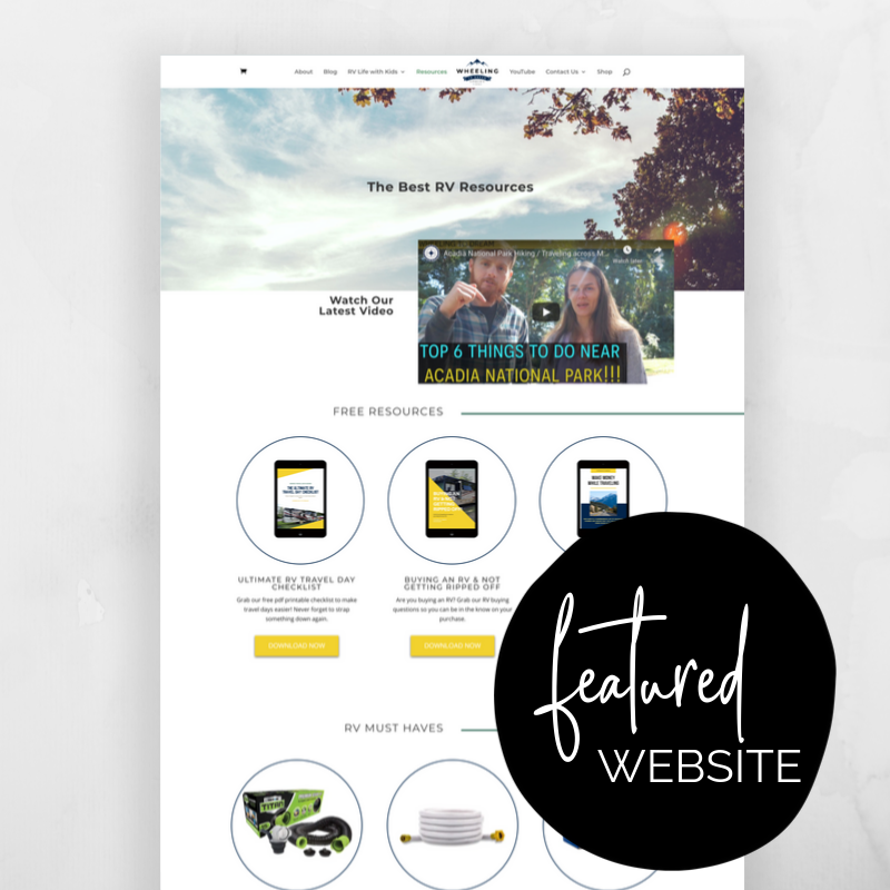 Wheeling to Dream by Heather & Nate is a website and resource created with an #effortlesswebkit following their journey as a full-time RV-ing family. @sammunozconsulting www.samanthamunoz.com #wordpresswebsites #bossmom #bloggertips #wordpressforbeginners