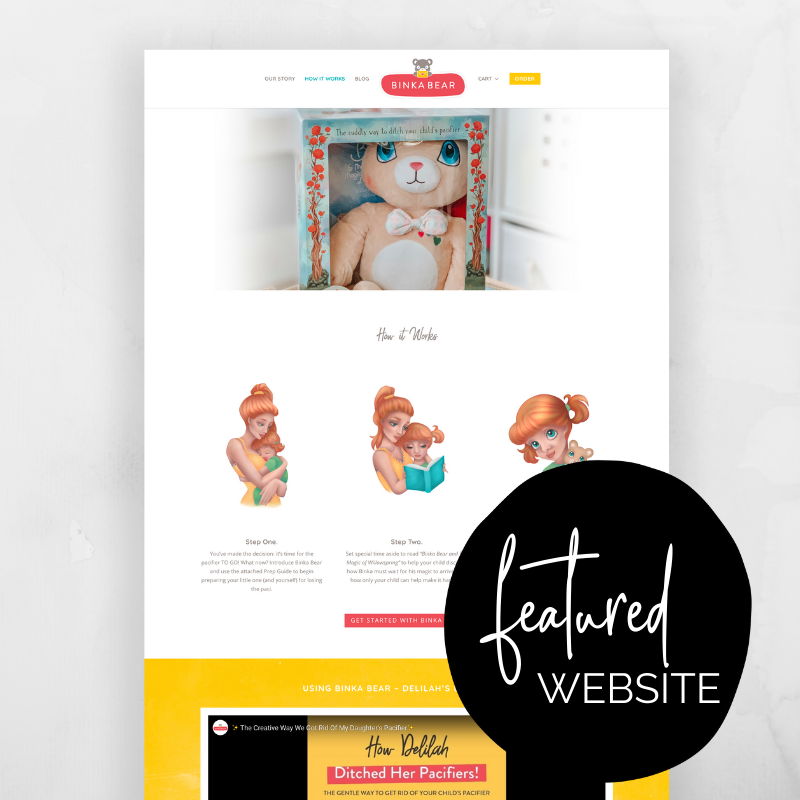 Binka Bear is a brand new product on the market for helping your child ditch the pacifier for good! Founder Kaitlyn Pierce worked one on one with our team as a private client to build her website! @sammunozconsulting www.samanthamunoz.com #wordpresswebsites #bossmom #bloggertips #wordpressforbeginners